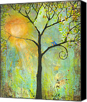 Wall Painting Canvas Prints - Hello Sunshine Tree Birds Sun Art Print Canvas Print by Blenda Tyvoll