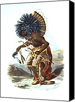Padre Art Canvas Prints - Hidatsa Warrior 1839 Canvas Print by Padre Art