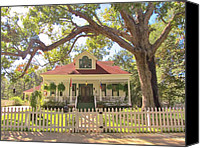 Photographs With Red. Canvas Prints - Historical Jefferson Texas Home Canvas Print by Donna Wilson