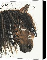 Paint Horse Canvas Prints - Hopa Majestic Mustang Series 47 Canvas Print by AmyLyn Bihrle