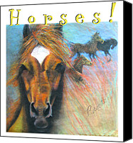 Horses Pastels Canvas Prints - Horses Canvas Print by Brooks Garten Hauschild