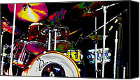 Drum Set Canvas Prints - Hot Licks Drummer Canvas Print by Kae Cheatham