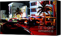 Bars Painting Canvas Prints - Hot Nights in South Beach Canvas Print by Michael Swanson