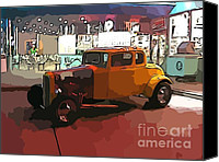 Antique Automobiles Digital Art Canvas Prints - Hot Rod Icon Canvas Print by John Malone