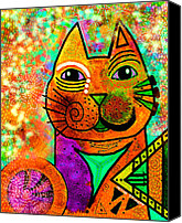 Canvas Mixed Media Canvas Prints - House of Cats series - Blinks Canvas Print by Moon Stumpp