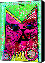 Moon Mixed Media Canvas Prints - House of Cats series - Glitter Canvas Print by Moon Stumpp