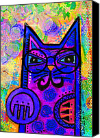 Canvas Mixed Media Canvas Prints - House of Cats series - Paws Canvas Print by Moon Stumpp