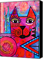 Moon Mixed Media Canvas Prints - House of Cats series - Tally Canvas Print by Moon Stumpp
