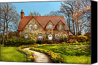 Yellow Flower Canvas Prints - House - Westfield NJ - The estates  Canvas Print by Mike Savad