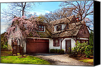 Old Houses Canvas Prints - House - Westfield NJ - Who doesnt love spring  Canvas Print by Mike Savad