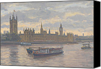 Signed Painting Canvas Prints - Houses of Parliament Canvas Print by Julian Barrow