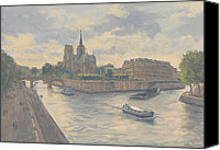 Signed Painting Canvas Prints - Ile de La Cite Canvas Print by Julian Barrow