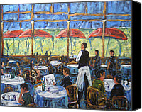Quebec Painting Canvas Prints - Impresionnist Cafe by Prankearts Canvas Print by Richard T Pranke