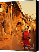 Sari Canvas Prints - Indian Lady in Red Sari. Indian Collection Canvas Print by Jenny Rainbow