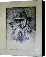 Indiana Drawings Canvas Prints - Indiana Jones Canvas Print by Sam Shacked