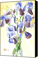 Blue Flowers Painting Canvas Prints - Irises Aglow Canvas Print by Kip DeVore