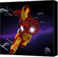 Comic. Marvel Canvas Prints - Iron Force Canvas Print by Penny Ovenden