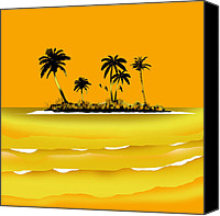 Landscapes Digital Art Special Promotions - Islands in Yellow Canvas Print by Peter Stevenson