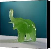 Featured Glass Art Canvas Prints - Jade Elephant Canvas Print by Tom Druin
