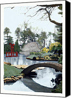 Landscapes Pastels Canvas Prints - Japanese Gate at Botanical Garden 2 Canvas Print by Linda  Parker