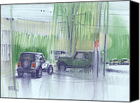Abstraction Drawings Canvas Prints - Jeep and Hummer Canvas Print by Donald Maier