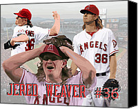 Baseball Drawings Canvas Prints - Jered Weaver Canvas Print by Israel Torres