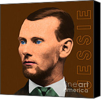 Jesse James Canvas Prints - Jesse James 20130515 square with text Canvas Print by Wingsdomain Art and Photography