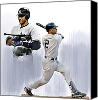 Derek Canvas Prints - Jeter Derek Jeter Canvas Print by Iconic Images Art Gallery David Pucciarelli
