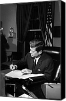 World Leader Canvas Prints - JFK Signing The Cuba Quarantine Canvas Print by War Is Hell Store