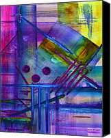 Color Mixed Media Canvas Prints - Jibe Joist I Canvas Print by Moon Stumpp