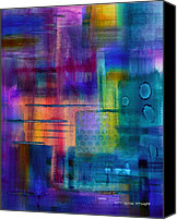 Color Mixed Media Canvas Prints - Jibe Joist II Canvas Print by Moon Stumpp