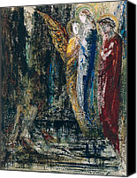 Job Painting Canvas Prints - Job and the Angels Canvas Print by Gustave Moreau