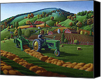 Thanksgiving Art Canvas Prints - John Deere Farm Tractor Baling Hay Country Landscape Scene Americana Canvas Print by Walt Curlee