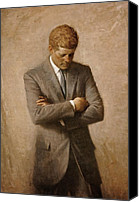 The White House Painting Canvas Prints - John F. Kennedy Canvas Print by Mountain Dreams