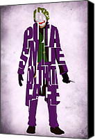 Dark Knight Canvas Prints - Joker - Heath Ledger Canvas Print by Ayse Toyran