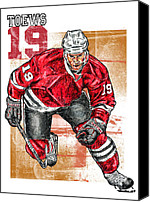 Skating Canvas Prints - Jonathan Toews Canvas Print by Maria Arango