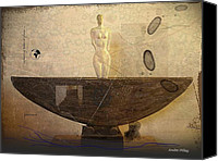 Figure Ceramics Canvas Prints - Journey Figure Vessel  Canvas Print by Andre Pillay