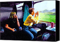 Tourists Painting Canvas Prints - Kelly and PJ in the Austrian Alps Canvas Print by Douglas Simonson