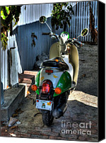 Fences Canvas Prints - Key West Scooter Canvas Print by Mel Steinhauer