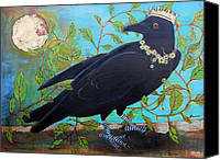 Goth Mixed Media Canvas Prints - King Crow Canvas Print by Blenda Tyvoll
