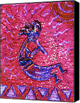 Anne-elizabeth Whiteway Canvas Prints - Kokopelli Dance Canvas Print by Anne-Elizabeth Whiteway
