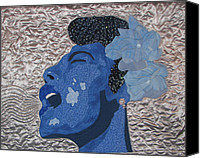 Art Quilt Tapestries - Textiles Canvas Prints - Lady Sings Canvas Print by Aisha Lumumba