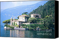 Lago Di Como Canvas Prints - Lake Como Palace Canvas Print by Greta Corens