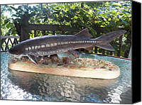 Featured Sculpture Canvas Prints - Lake Sturgeon Canvas Print by Richard Goohs