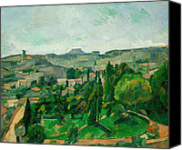 Featured Canvas Prints - Landscape in the Ile-de-France Canvas Print by Paul Cezanne