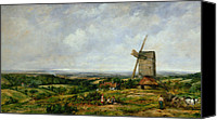 Featured Canvas Prints - Landscape with Figures by a Windmill Canvas Print by Frederick Waters Watts