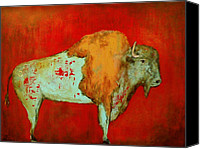 Buffalo Painting Canvas Prints - Last Stand Canvas Print by Laura Sue