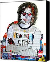 Famous Mixed Media Canvas Prints - Lennon Uncut 2 Canvas Print by Brian Buckley