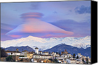 Architecture Special Promotions - Lenticular clouds over Granada  The Alhambra and Sierra Nevada at sunset Canvas Print by Guido Montanes Castillo