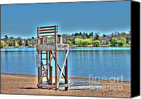 Lake Photo Special Promotions - Life Guard Chair Canvas Print by Jimmy Ostgard